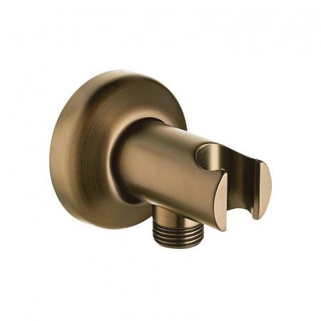 Omnires Art Deco Przyłącze kątowe z uchwytem prysznicowym 6,5x6,5x6,8 cm brąz antyczny 8869BR