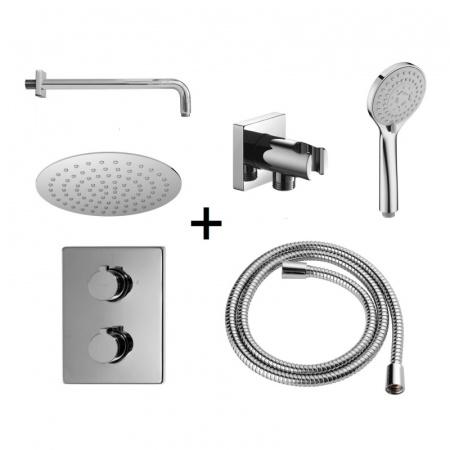 Omnires Y Zestaw prysznicowy podtynkowy z termostatem z deszczownicą chrom SYSYT01CR