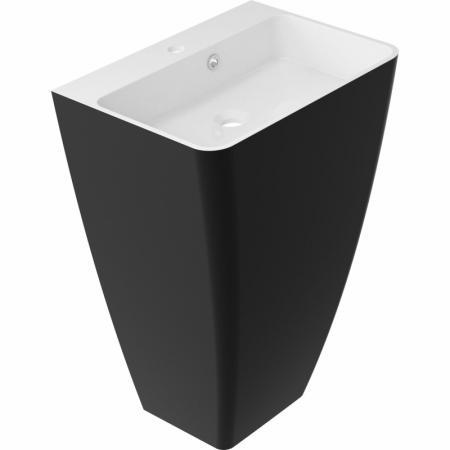 Omnires Parma Marble+ Umywalka wolnostojąca 55x43 cm z otworem na baterię, z przelewem, biała/czarna PARMAUWBCP