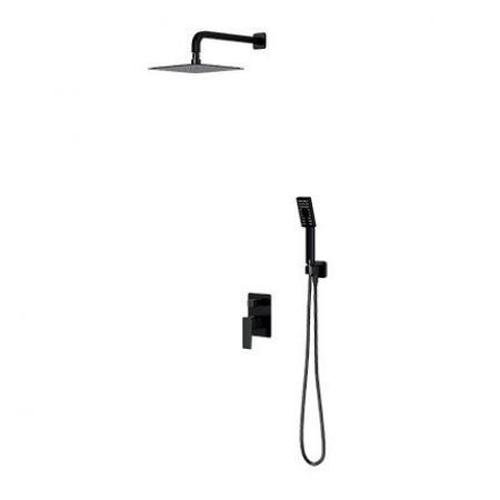 Omnires Parma Zestaw prysznicowy podtynkowy z deszczownicą czarny mat SYSPM10BL
