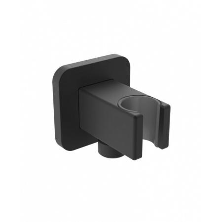 Omnires Przyłącze kątowe z uchwytem prysznicowym 6x6x8,4 cm czarny mat 8815BL