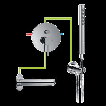 Omnires Y Jednouchwytowa bateria wannowa podtynkowa z zestawem prysznicowym i wylewką chrom BWPKX
