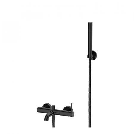 Omnires Y Bateria wannowa ścienna z zestawem prysznicowym czarna Y1231BL