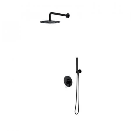 Omnires Y Zestaw prysznicowy podtynkowy z deszczownicą czarny mat SYSY18BL