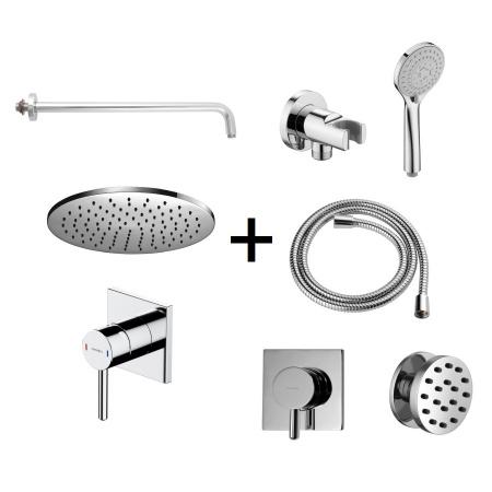 Omnires Y Zestaw prysznicowy podtynkowy z deszczownicą i dyszami bocznymi chrom SYSY30XCR