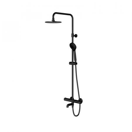 Omnires Y Zestaw wannowo-prysznicowy natynkowy z termostatem czarny Y1234ALBL