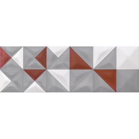 Opoczno Delicate Lines Multicolour Inserto Geo Listwa dekoracyjna 25x75x1,05 cm, bordowa, szara, biała błyszcząca OD432-005