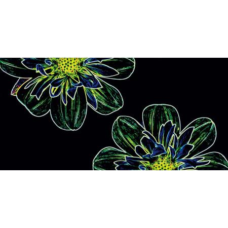 Opoczno Fluorescent Flower Green Inserto Listwa dekoracyjna szklana 29,7x60x0,9 cm, czarna, żółta błyszcząca OD386-003