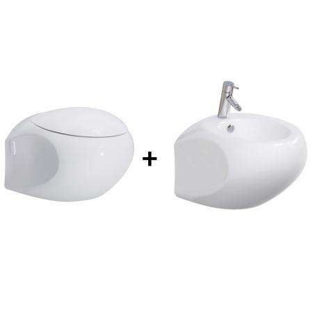 Opoczno High Street Zestaw Toaleta WC podwieszana z deską sedesową wolnoopadającą i bidetem podwieszanym, biały K110-002+K98-0106+K110-001