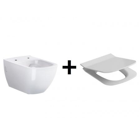 Opoczno Metropolitan Zestaw Toaleta WC podwieszana CleanOn bez kołnierza z deską sedesową wolnoopadającą, biały OK581-002-BOX+OK581-009-BOX