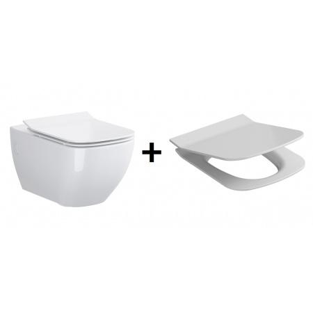 Opoczno Metropolitan Zestaw Muszla klozetowa miska WC podwieszana z deską wolnoopadającą, biały OK581-003-BOX+OK581-009-BOX