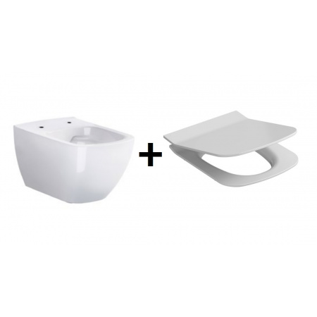 Opoczno Metropolitan Zestaw Toaleta WC podwieszana 55,5x36 cm CleanOn z ukrytym mocowaniem z deską sedesową wolnoopadającą, biały K38-014+OK581-009-BOX
