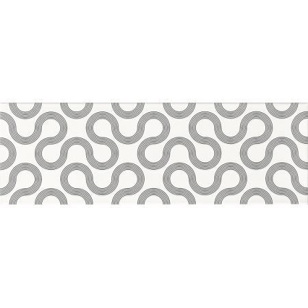 Opoczno Spin White-Black Geo Płytka ścienna 25x75x1,05 cm, biały, czarny błyszcząca OP431-002-1