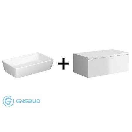 Opoczno Splendour Zestaw Umywalka nablatowa z szafką podumywalkową, biały K40-005+S923-010