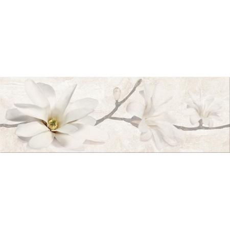 Opoczno Stone Flowers Beige Inserto Listwa dekoracyjna 25x75x1,05 cm, beżowa, żółta, szara błyszcząca OD683-006