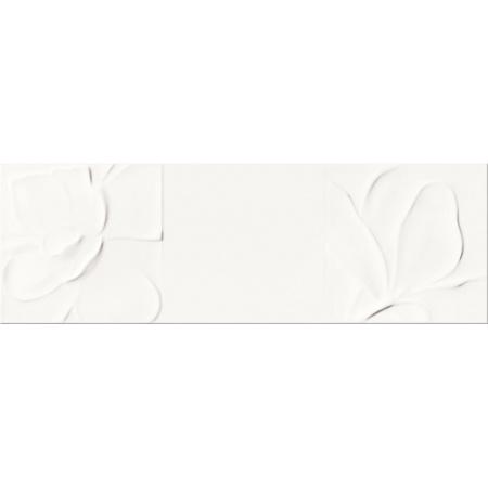 Opoczno Structure Pattern White Flower Structure Płytka ścienna 25x75x1,05 cm, biała błyszcząca OP365-004-1