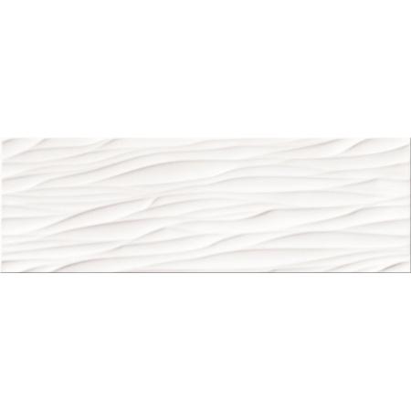 Opoczno Structure Pattern White Wave Structure Płytka ścienna 25x75x1,05 cm, biała błyszcząca OP365-006-1