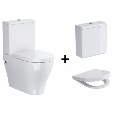 Opoczno Urban Harmony Zestaw Toaleta WC kompaktowa z deską wolnoopadającą i zbiornikiem z doprowadzeniem wody z boku, biały OK580-010-BOX+K98-0130+OK580-011-BOX