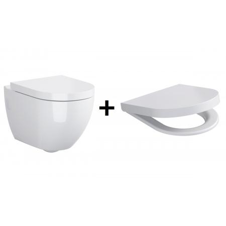 Opoczno Urban Harmony Zestaw Toaleta WC podwieszana 49,5x35,5 cm z deską sedesową wolnoopadającą, biały OK580-004-BOX+K98-0130