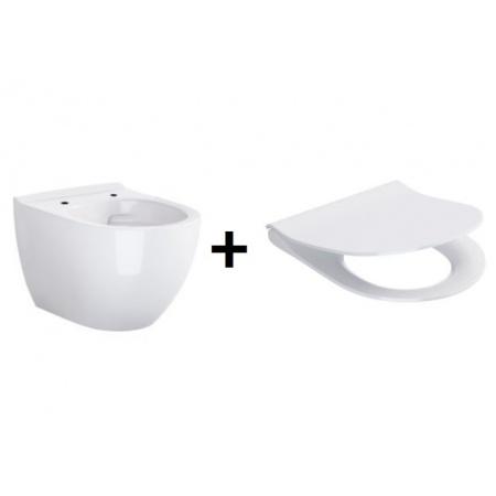 Opoczno Urban Harmony Zestaw Toaleta WC podwieszana 50x36 cm CleanOn z ukrytym mocowaniem z deską sedesową wolnoopadającą Slim, biały K109-054+K98-0133