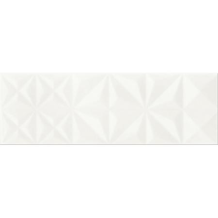 Opoczno White Magic White Glossy Squares Structure Płytka ścienna 25x75x1,05 cm, biała błyszcząca OP682-001-1