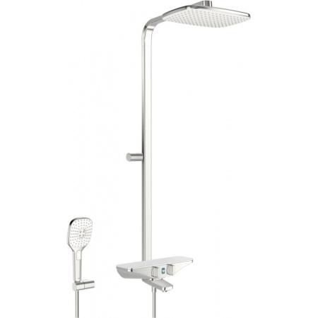 Oras Esteta Wellfit Zestaw prysznicowy natynkowy termostatyczny 6V z deszczownicą chrom/biały 7593U-11
