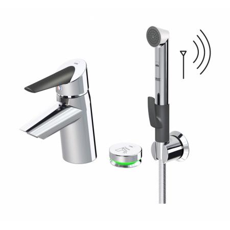 Oras Optima Jednouchwytowa bateria umywalkowa termostatyczna z rączką Bidetta i przyciskiem ze zdalnym sterowaniem 230/5V, chrom 2705FT