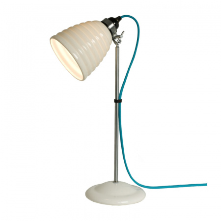 Original BTC Hector Bibendum Lampa stołowa 57x13 cm IP20 E27 GLS, biała, turkusowa, niebieska FT491WT