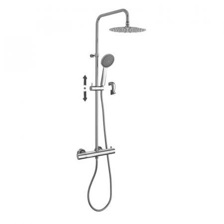 Paffoni Brillo Fix Zestaw prysznicowy natynkowy z termostatem i deszczownicą chrom ZCOL685CR