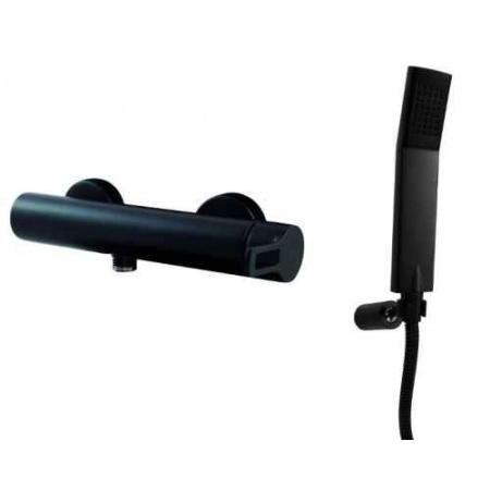 Paffoni Ringo Bateria prysznicowa ścienna z zestawem prysznicowym czarny mat RIN168DNO