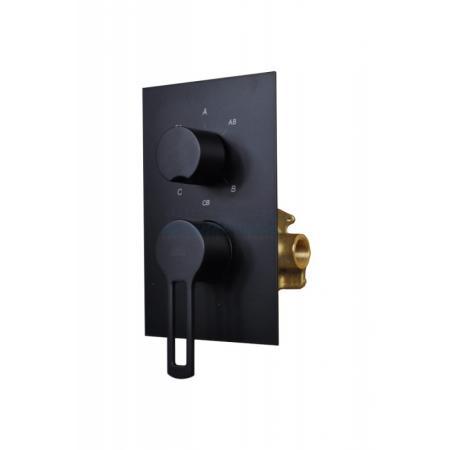Paffoni Ringo Bateria wannowo-prysznicowa podtynkowa 3-drożna, czarny mat RIN019NO