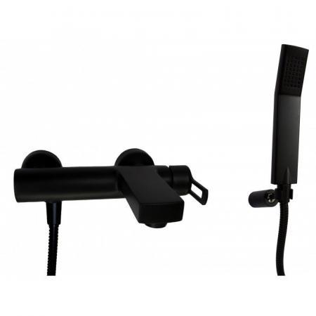 Paffoni Ringo Bateria wannowo-prysznicowa ścienna z zestawem prysznicowym, czarny mat RIN023NO