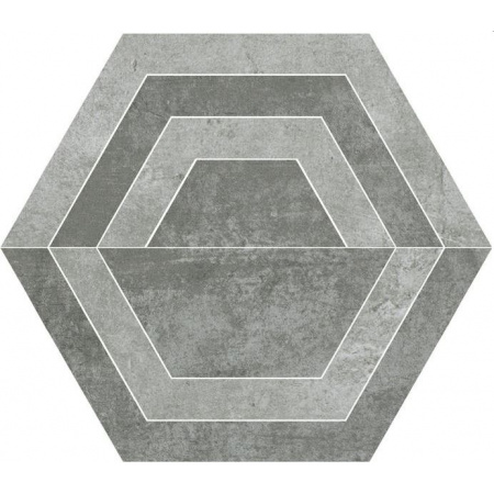 Paradyż Scratch Grys Heksagon C Płytka podłogowa 26x29,8 cm gres szkliwiony, szara PSBHCPP26X30GSSZ