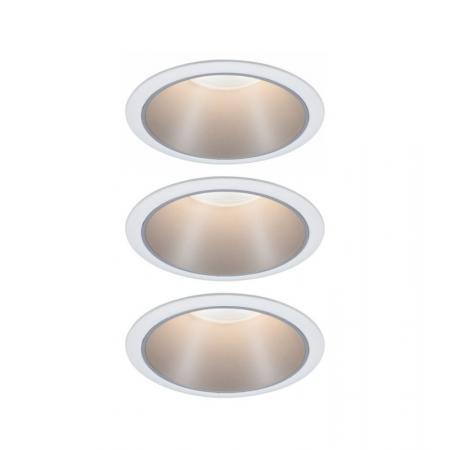 Paulmann Cole Coin Zestaw opraw wbudowanych biały/srebrny 93410