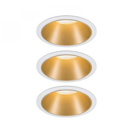 Paulmann Cole Coin Zestaw opraw wbudowanych biały/złoty mat 93406