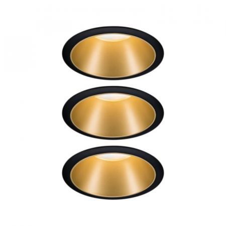 Paulmann Cole Coin Zestaw opraw wbudowanych czarny/złoty mat 93404
