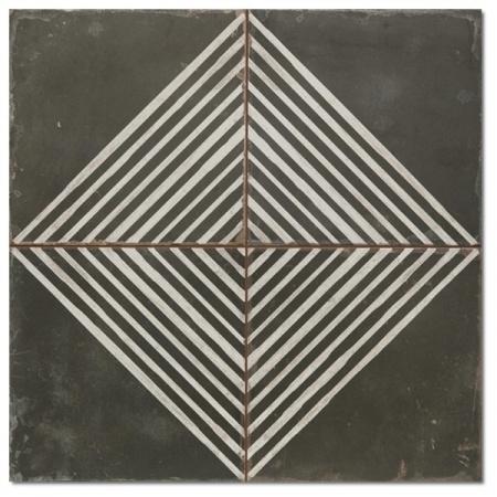 Peronda FS Damera FS Rombos-N Płytka podłogowa 45x45 cm, biała/czarna 16447