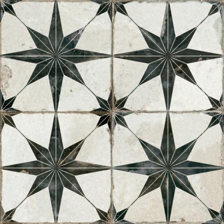 Peronda FS Damera FS Star-N Płytka podłogowa 45x45 cm, biała/czarna 19136