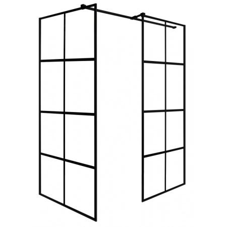PMD Besco Excea Kabina prysznicowa Walk-In 100x80x190 cm, profile czarny mat szkło przezroczyste EXC-108-190B