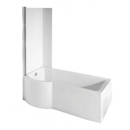 PMD Besco Inspiro Kabino-wanna asymetryczna 160x70 cm akrylowa lewa z parawanem 1-częściowym, biała WAI-160-NLE