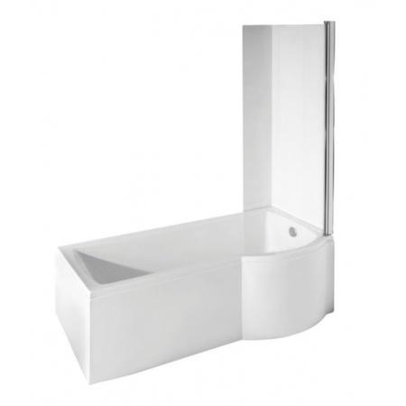 PMD Besco Inspiro Kabino-wanna asymetryczna 160x70 cm akrylowa prawa z parawanem 1-częściowym, biała WAI-160-NPR