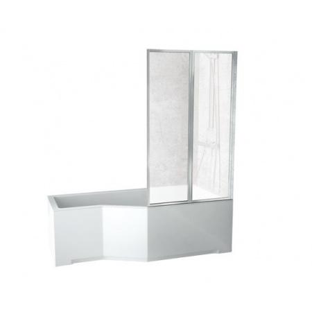 PMD Besco Integra Kabino-wanna asymetryczna 150x75 cm akrylowa prawa z parawanem 2-częściowym, biała WAI-150-PP2