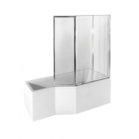 PMD Besco Integra Kabino-wanna asymetryczna 150x75 cm akrylowa prawa z parawanem 3-częściowym, biała WAI-150-PP3