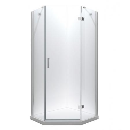 PMD Besco Viva Kabina prysznicowa pięciokątna 90x90x195 cm drzwi uchylne prawa, profile chrom szkło przezroczyste V5P-90-195-C