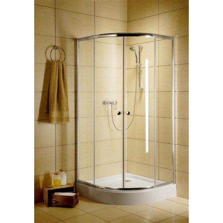 Radaway Classic A Kabina prysznicowa półokrągła 90x90 cm, profile białe, szkło fabric 30000-04-06