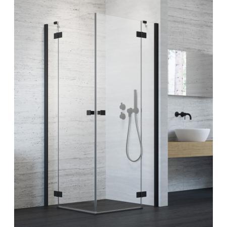 Radaway Essenza New Black KDD Drzwi prysznicowe uchylne 80x200 cm lewe profile czarne szkło przezroczyste 385061-54-01L