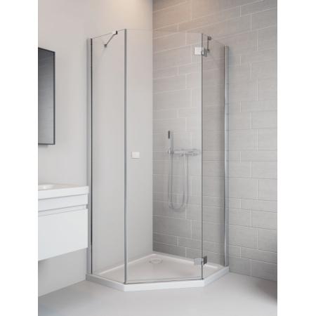 Radaway Essenza New PTJ 90 Drzwi prysznicowe 90x200 cm, wersja prawa, profile chrom, szkło przejrzyste z powłoką EasyClean 385010-01-01R