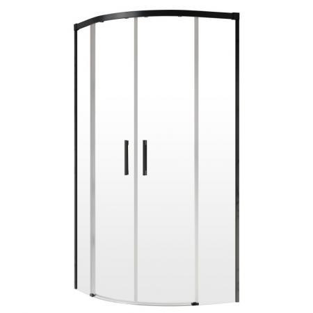 Radaway Idea Black PDD Kabina prysznicowa półokrągła 90x100x200,5 cm profile czarne szkło przezroczyste 387139-01-01+387156-54-01