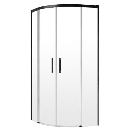 Radaway Idea Black PDD Kabina prysznicowa półokrągła 90x80x200,5 cm profile czarne szkło przezroczyste 387139-01-01+387151-54-01