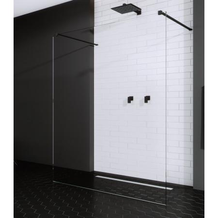 Radaway Modo New Black I Ścianka prysznicowa Walk-In 128x200 cm profile czarne szkło przezroczyste 388134-54-01